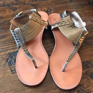 Coach Bronze Leather Sandals
